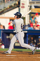 Jake Lowery (6) of the Akron Rubber Ducks follows through on his swing against the Reading Fightin Phils at FirstEnergy Stadium on June 19, 2014 in Wappingers Falls, New York.  The Rubber Ducks defeated the Fightin Phils 3-2.  (Brian Westerholt/Four Seam Images)