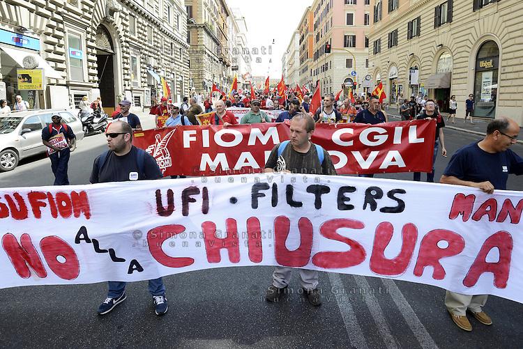 Roma, 28 Giugno 2013<br /> Sciopero di 8 ore e manifestazione indetto dalla FIOM CGIL del Gruppo Fiat, aziende del movimento terra, degli autobus, dell'indotto e della componentistica.