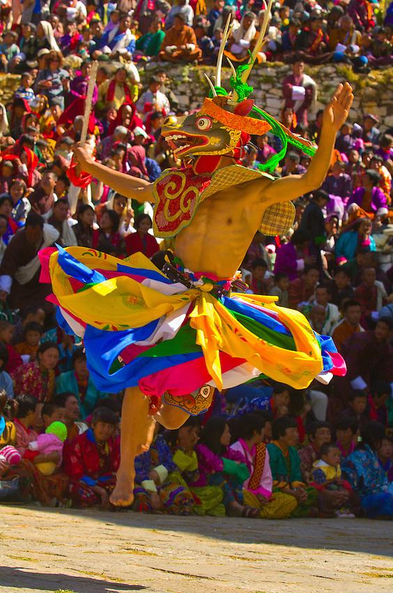 Masked dancers, Dance of the Four Stags Masked, Paro Teschu festival, Paro Dzong Monastery,  Paro Valley, Bhutan