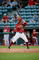 Altoona Curve pinch hitter Elvis Escobar (13) at bat during a game against the Richmond Flying Squirrels on May 15, 2018 at Peoples Natural Gas Field in Altoona, Pennsylvania.  Altoona defeated Richmond 5-1.  (Mike Janes/Four Seam Images)