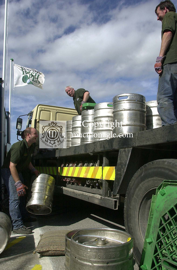 ALL FOR FOR IRISH OPEN AT BALLYBUNION....Another consignment of Murphy's arrives in readiness for this week's Murphy's Irish Open which begins on Wednesday with the Pro-Am..Picture by Don MacMonagle