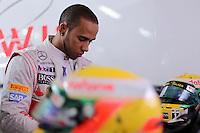 HOCKENHEIM, ALEMANHA, 20 JULHO 2012 - FORMULA 1 - GP DA ALEMANHA -   O piloto britanico Lewis Hamilton  durante o primeiro dia de treinos livres no circuito de Hockenheim nesta sexta-feira, 20. Domingo acontece a 10 etapa da F1 no GP da Alemanha. (FOTO: PIXATHLON / BRAZIL PHOTO PRESS).