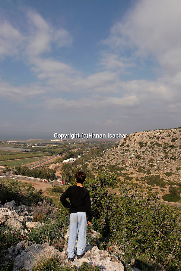 Israel, Carmel. Wadi Oren and road 721 and Carmel coast as seen from Etzba cave
