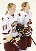Elizabeth Olchowski (BC - 13), Shannon Webster (BC - 12) - The visiting St. Lawrence University Saints defeated the Boston College Eagles 4-0 on Friday, January 15, 2010, at Conte Forum in Chestnut Hill, Massachusetts.