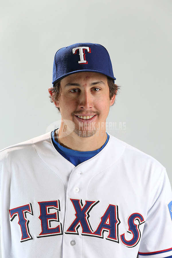 Feb. 20, 2013; Surprise, AZ, USA: Texas Rangers pitcher Derek Holland poses for a portrait during photo day at Surprise Stadium. Mandatory Credit: Mark J. Rebilas-