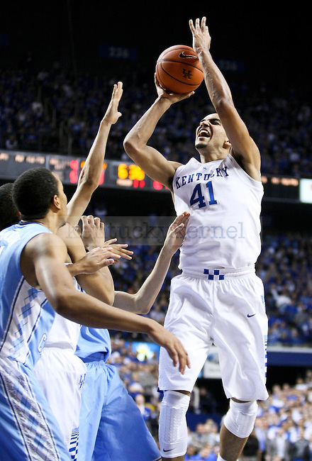 Kentucky forward Trey Lyles shoots the ball during the first half of the University of Kentucky men's basketball game vs. University of North Carolina at Rupp Arena in Lexington , Ky., on Saturday, December 13, 2014. Photo by Jonathan Krueger | Staff