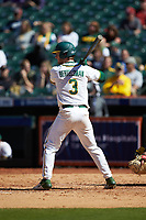 Ryan Bertelsman (3) of the Baylor Bears at bat against the Missouri Tigers in game one of the 2020 Shriners Hospitals for Children College Classic at Minute Maid Park on February 28, 2020 in Houston, Texas. The Bears defeated the Tigers 4-2. (Brian Westerholt/Four Seam Images)