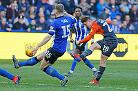 George Byers of Swansea City (R) takes a shot during the Sky Bet Championship match between Sheffield Wednesday and Swansea City at Hillsborough Stadium, Sheffield, England, UK. Saturday 23 February 2019
