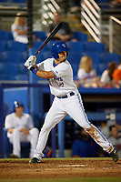 Dunedin Blue Jays designated hitter Max Pentecost (10) at bat during a game against the St. Lucie Mets on April 19, 2017 at Florida Auto Exchange Stadium in Dunedin, Florida.  Dunedin defeated St. Lucie 9-1.  (Mike Janes/Four Seam Images)