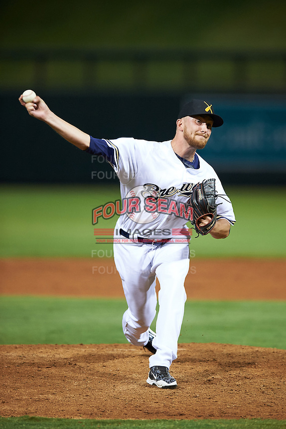Salt River Rafters pitcher Josh Uhen (35), of the Milwaukee Brewers organization, during a game against the Peoria Javelinas on October 11, 2016 at Salt River Fields at Talking Stick in Scottsdale, Arizona.  The game ended in a 7-7 tie after eleven innings.  (Mike Janes/Four Seam Images)