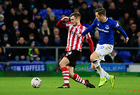 Lincoln City's Michael O'Connor vies for possession with Everton's Bernard<br /> <br /> Photographer Chris Vaughan/CameraSport<br /> <br /> Emirates FA Cup Third Round - Everton v Lincoln City - Saturday 5th January 2019 - Goodison Park - Liverpool<br />  <br /> World Copyright &copy; 2019 CameraSport. All rights reserved. 43 Linden Ave. Countesthorpe. Leicester. England. LE8 5PG - Tel: +44 (0) 116 277 4147 - admin@camerasport.com - www.camerasport.com