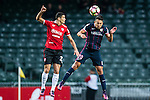 Thomas Lam of SC Kitchee (r) heads the ball during the 2017 Lunar New Year Cup match between SC Kitchee (HKG) vs Muangthong United (THA) on January 28, 2017 in Hong Kong, Hong Kong. Photo by Marcio Rodrigo Machado/Power Sport Images
