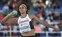 CALI - COLOMBIA - 17-07-2015: Dallyssa Huggins de Canada, durante la prueba de Lanzamiento de bala del Heptatlon en el estadio Pascual Guerrero sede, sede de IAAF Campeonatos Mundiales de la Juventud Cali 2015.  / Dallyssa Huggins of canada, during the test of Shot Put of th Heptathlon in the Pascual Guerrero home of the IAAF World Youth Championships Cali 2015. Photos: VizzorImage / Luis Ramirez / Staff.