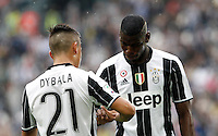 Calcio, Serie A: Juventus vs Sampdoria. Torino, Juventus Stadium, 14 maggio 2016. <br /> Juventus&rsquo; Paulo Dybala, left, is congratulated by teammate Paul Pogba after scoring the Italian Serie A football match between Juventus and Sampdoria at Turin's Juventus Stadium, 14 May 2016.<br /> UPDATE IMAGES PRESS/Isabella Bonotto