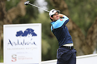 Ricardo Gouveia (POR) tees off the 11th tee during Saturday's storm delayed Round 2 of the Andalucia Valderrama Masters 2018 hosted by the Sergio Foundation, held at Real Golf de Valderrama, Sotogrande, San Roque, Spain. 20th October 2018.<br /> Picture: Eoin Clarke | Golffile<br /> <br /> <br /> All photos usage must carry mandatory copyright credit (&copy; Golffile | Eoin Clarke)