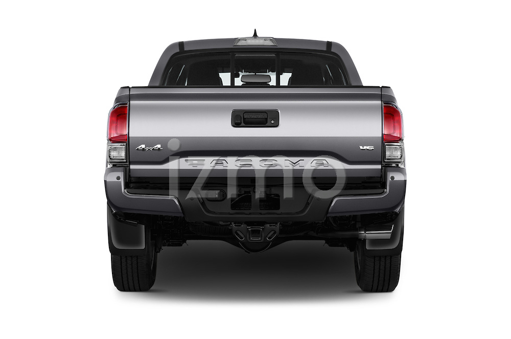 Straight rear view of 2016 Toyota Tacoma Limited 4 Door Pickup Rear View  stock images