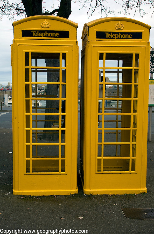 Two yellow telephone boxes, St Peter Port, Guernsey, Channel Islands, UK
