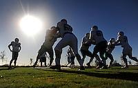 Sept. 16, 2009; Casa Grande, AZ, USA; Las Vegas Locomotives linemen run drills during training camp at the Casa Grande Training Facility & Performance Institute. Mandatory Credit: Mark J. Rebilas-