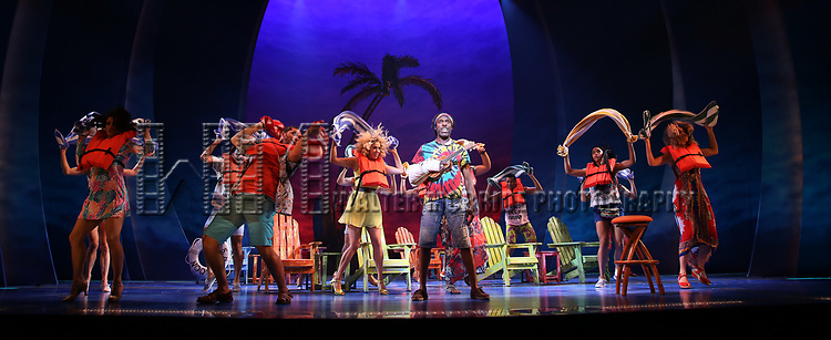 Andre Ward with cast during the Press Sneak Peak for the Jimmy Buffett  Broadway Musical 'Escape to Margaritaville' on February 15, 2018 at the Marquis Theatre in New York City.