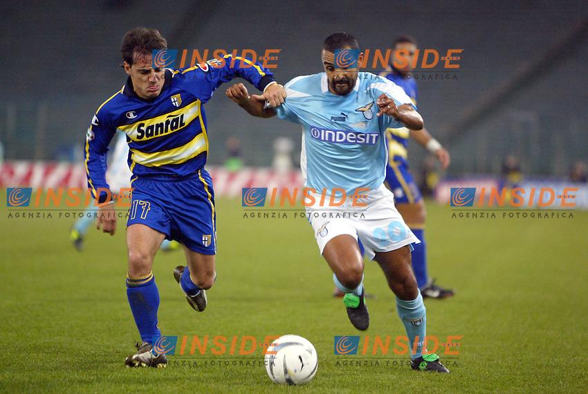 Roma 14/1/2004 - Coppa Italia<br /> Lazio Parma 2-0<br /> Emanuele Filippini (Parma) and Fabio Liverani (Lazio)<br /> Foto Andrea Staccioli Insidefoto