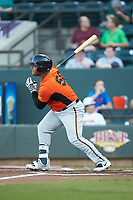 Wilson Garcia (50) of the Frederick Keys follows through on his swing against the Winston-Salem Dash at BB&T Ballpark on July 26, 2018 in Winston-Salem, North Carolina. The Keys defeated the Dash 6-1. (Brian Westerholt/Four Seam Images)