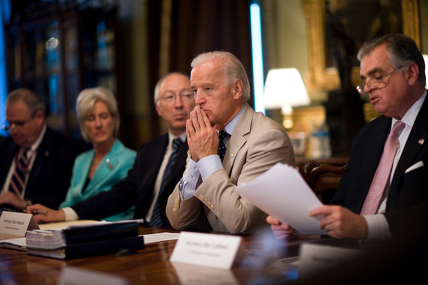 Vice President Joe Biden attends a Recovery Act Implementation Cabinet meeting in the Eisenhower Executive Office Building on the White House campus in Washington. ..Photo by Brooks Kraft/Corbis............