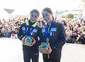 24th March 2018, Mediolanum Forum, Milan, Italy;  (L-R): Satoko MIYAHARA, Wakaba HIGUCHI (JPN) during the ISU World Figure Skating Championships, Ladies small medal ceremony at Mediolanum Forum in Milan, Italy