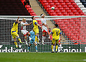 Mark Roberts andJon Ashton of Stevenage Borough under pressure from Lee McEvilly and Jason Walker of Barrow during the  FA Trophy Final between Barrow and Stevenage Borough at Wembley Stadium, London on 8th May,2010..© Kevin Coleman 2010.