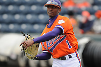 Left fielder Maleeke Gibson (1) of the Clemson Tigers prior to a game against the South Carolina Gamecocks on Saturday, March 2, 2013, at Fluor Field at the West End in Greenville, South Carolina. Clemson won the Reedy River Rivalry game 6-3. (Tom Priddy/Four Seam Images)