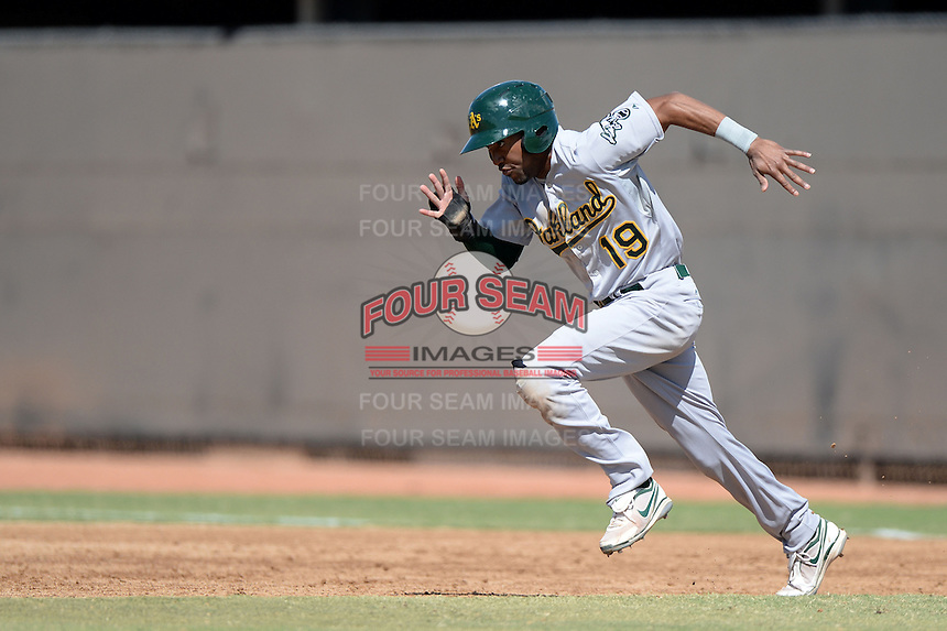 Oakland Athletics outfielder D'Arby Myers (19) during an Instructional League game against the Milwaukee Brewers on October 10, 2013 at Maryvale Baseball Park Training Complex in Phoenix, Arizona.  (Mike Janes/Four Seam Images)