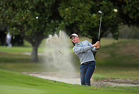 Nick Voke plays out of a bunker on the 8th. Day two of the Jennian Homes Charles Tour / Brian Green Property Group New Zealand Super 6s at Manawatu Golf Club in Palmerston North, New Zealand on Friday, 6 March 2020. Photo: Dave Lintott / lintottphoto.co.nz