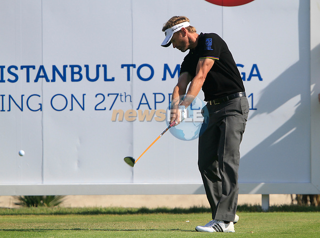Raphael Jacquelin (FRA) tees off on the 17th tee during the Final Day Sunday of the Open de Andalucia de Golf at Parador Golf Club Malaga 27th March 2011. (Photo Eoin Clarke/Golffile 2011)