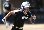 Western Nevada&rsquo;s Melanie Mecham runs up the first baseline against College of Southern Nevada at Edmonds Sports Complex in Carson City, Nev., on Friday, April 1, 2016. <br />Photo by Cathleen Allison/Nevada Photo Source