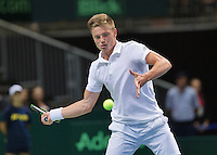 Switserland, Genève, September 20, 2015, Tennis,   Davis Cup, Switserland-Netherlands, Tim van Rijthoven (NED)<br /> Photo: Tennisimages/Henk Koster