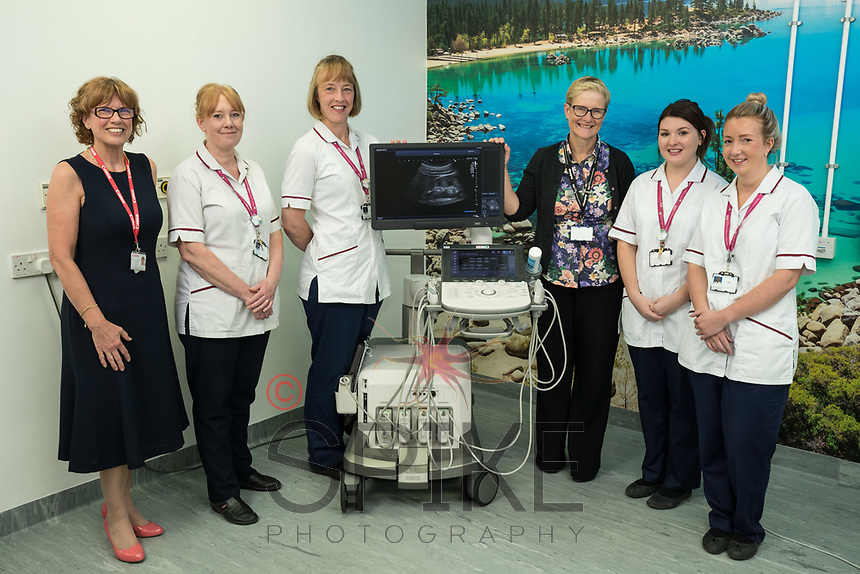 Pictured from left are Jackie Chambers of Canon Medical Systems, Angela Staley, Vanessa Waspe, Dr Katharine Halliday, Lauren Padgett and Clare Cormell