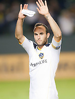 LA Galaxy midfielder Landon Donovan (10) celebrates after the game between LA Galaxy and the Seattle Sounders at the Home Depot Center in Carson, CA, on November 7, 2010. LA Galaxy 2, Seattle Sounders 1. LA Galaxy advance in the playoffs with an aggregate score of 3 to 1.