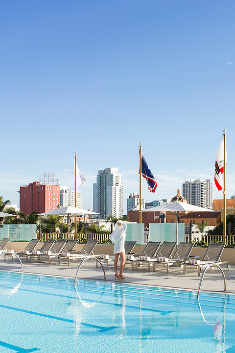 The Westgate Hotel pool deck is a little island of cool, modern serenity amid the bustle of a huge west-coast city. Hollander Design Group - San Diego.