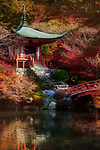 Bridge and steps leading to Bentendo Hall, autumn scenery with a pond. Daigo-ji temple, Shimo-Daigo part of Daigoji complex in fall colors. Shingon Buddhist temple in Fushimi-ku, Kyoto, Japan 2017.
