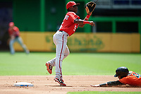 Washington Nationals Andruw Monasterio (5) waits to receive a throw as Chris Torres (48) slides into second base during a Florida Instructional League game against the Miami Marlins on September 26, 2018 at the Marlins Park in Miami, Florida.  (Mike Janes/Four Seam Images)