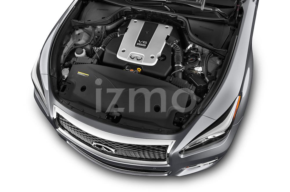 Car Stock 2015 Infiniti Q70 3.7 L 4 Door Sedan Engine high angle detail view