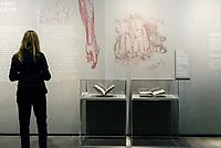 Copies of Leonardo Da Vinci's Codex Leicester at the Leonardo da Vinci exhibition, Uffizi Gallery, Florence