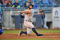Corpus Christi Hooks third baseman Abraham Toro (13) swings at a pitch against the Tulsa Drillers at Oneok Stadium on May 4, 2019 in Tulsa, Oklahoma.  The Hooks won 9-7.  (Dennis Hubbard/Four Seam Images)