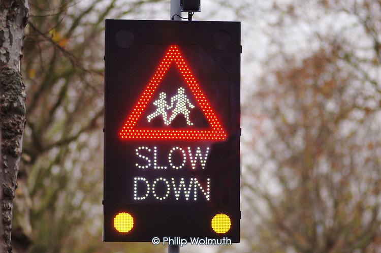 Traffic calming sign in Lewisham, London.