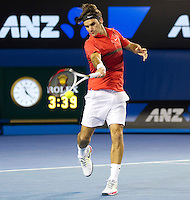 ROGER FEDERER (SUI) against RAFAEL NADAL (ESP) in the Semi-Finals of the Men's Singles. Rafael Nadal beat Roger Federer 7-6 6-2 6-7 6-4..26/01/2012, 26th January 2012, 26.01.2012 - Day 10..The Australian Open, Melbourne Park, Melbourne,Victoria, Australia.@AMN IMAGES, Frey, Advantage Media Network, 30, Cleveland Street, London, W1T 4JD .Tel - +44 208 947 0100..email - mfrey@advantagemedianet.com..www.amnimages.photoshelter.com.