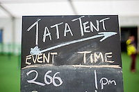 Hay on Wye, UK. Wednesday 01 June 2016<br /> Pictured:  Sign outside the TATA at the Hay festival <br /> Re: The 2016 Hay festival take place at Hay on Wye, Powys, Wales
