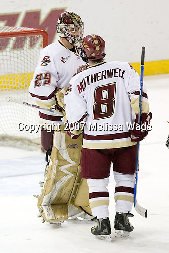 Joe Pearce (BC - 29), Brett Motherwell (BC - 8) - The Boston College Eagles defeated the visiting Northeastern University Huskies 7-1 on Friday, March 9, 2007, to win their Hockey East quarterfinals matchup in two games at Conte Forum in Chestnut Hill, Massachusetts.