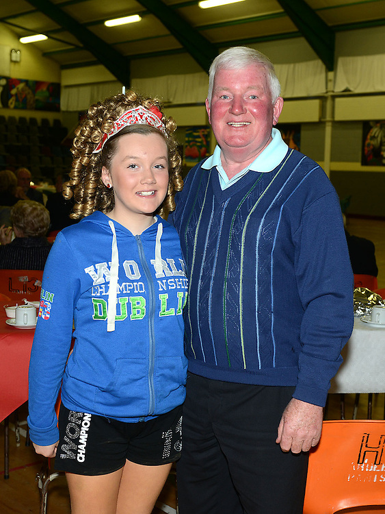 Erínn McGuinness and her grandfather Dominic pictured at The Gathering in Ardee parish centre. Photo:Colin Bell/pressphotos.ie
