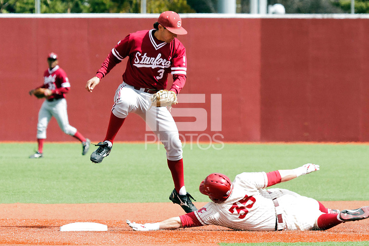 PULLMAN, WA-April 3, 2011:  Stanford player Kenny Diekroeger in a game against Washington State University in Pullman, Washington.  Stanford won the game 4-3.