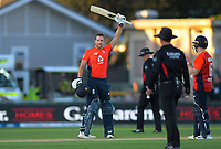 England's Dawid Malan celebrates his century during the 4th Twenty20 International cricket match between NZ Black Caps and England at McLean Park in Napier, New Zealand on Friday, 8 November 2019. Photo: Dave Lintott / lintottphoto.co.nz