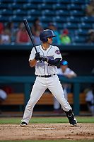 Jacksonville Jumbo Shrimp Santiago Chavez (13) at bat during a Southern League game against the Mobile BayBears on May 28, 2019 at Baseball Grounds of Jacksonville in Jacksonville, Florida.  Mobile defeated Jacksonville 2-1.  (Mike Janes/Four Seam Images)